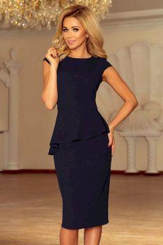 Granatowa Elegancka Ołówkowa Sukienka Midi z Asymetryczną Baskinką