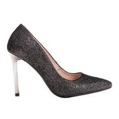 Marco Shoes Czarne szpilki ze skóry naturalnej na srebrnym obcasie