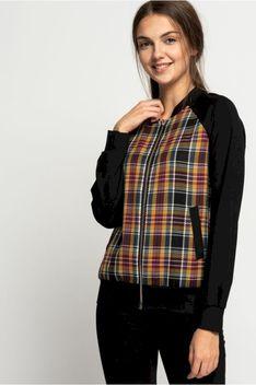 Bluza w kratę z dzianinowymi rękawami Bialcon