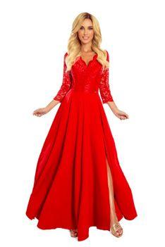 Długa Rozkloszowana Sukienka z Koronką - Czerwona