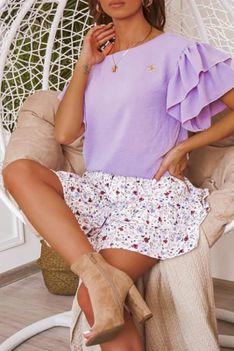 Bluzka z ozdobnymi rękawkami lila Lisa
