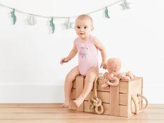 LUPILU® Body niemowlęce na ramiączkach, 2 sztuki (62/68, Różowy/szary)