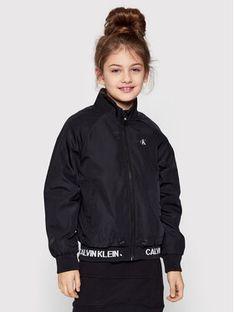 Calvin Klein Jeans Kurtka przejściowa Logo Rib Light IG0IG00780 Czarny Regular Fit