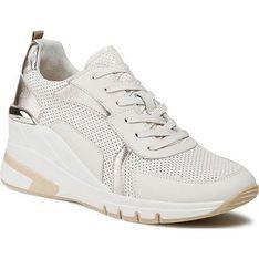 Białe buty sportowe damskie Caprice sneakersy na platformie sznurowane