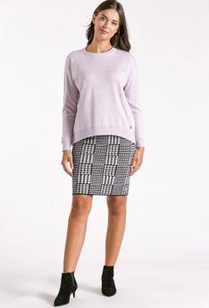 Gładki sweter z rozcięciem po boku