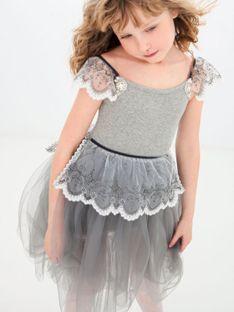 Szara sukienka dziecięca z tiulową spódnicą Anima by Justyna Steczkowska