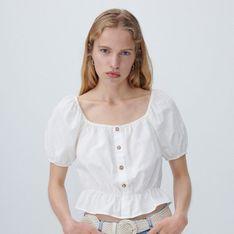 Reserved - Krótka bluzka z bufiastymi rękawami - Kremowy