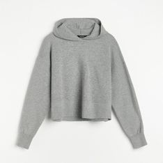 Reserved - Dzianinowa bluza z kapturem - Szary