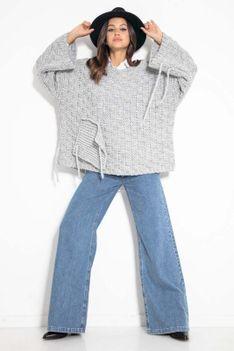 Sweter Oversize z Naszytą Kieszenią i Frędzlami - Szary