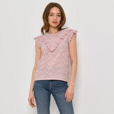 Mohito - Ażurowa bluzka z falbankami - Różowy