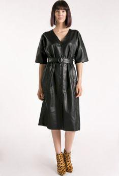 Sukienka typu kimono z ekoskóry