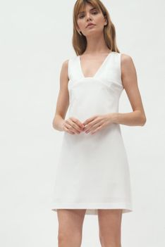 Mini Sukienka bez Rękawów - Ecru
