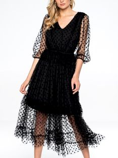Czarna tiulowa sukienka w welurowe groszki L`AF STEPHANIE