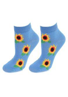 Niskie Bawełniane Skarpetki Damskie w Słoneczniki Footies Sunflowers Marilyn