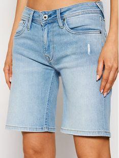 Pepe Jeans Szorty jeansowe Poppy PL800493 Niebieski Regular Fit