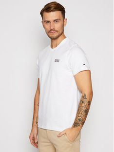 Tommy Jeans T-Shirt Corp Logo C Neck DM0DM09588 Biały Regular Fit