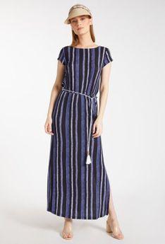 Prążkowana, casualowa sukienka maxi