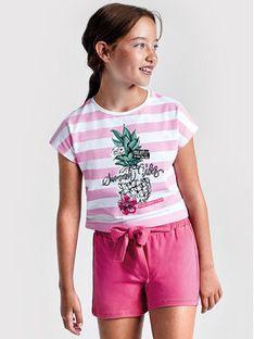 Mayoral Komplet t-shirt i szorty sportowe 6278 Różowy Regular Fit