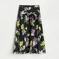 Reserved - Bawełniana spódnica midi - Czarny
