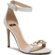 Sandały damskie Elisabetta Franchi białe eleganckie na wysokim obcasie z klamrą ze skóry