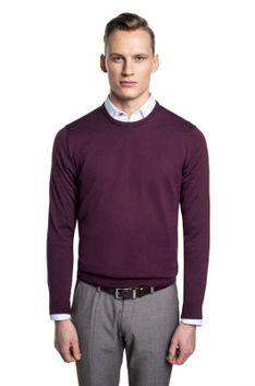 Bordowy sweter z okrągłym dekoltem Recman MOULIN