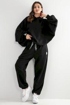 Dresy Bluza Oversize + Spodnie z Wysokim Stanem - Czarne