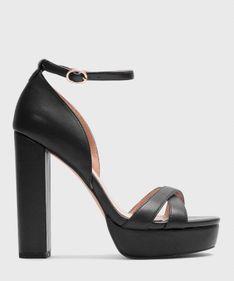 Czarne sandały na platformie damskie