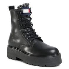 Trapery TOMMY JEANS - Check Tongue Lace Up Boot EN0EN01071 Black BDS