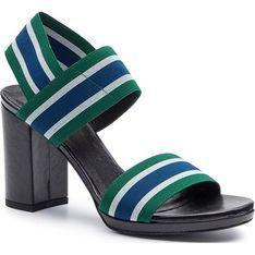 Sandały damskie Gino Rossi na wysokim obcasie w paski skórzane bez zapięcia casual