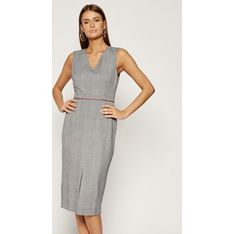 Sukienka Tommy Hilfiger bez rękawów do pracy szara midi z dekoltem w serek