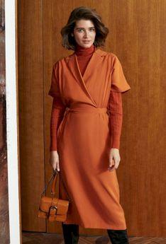Miejska sukienka o kopertowym fasonie
