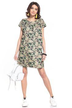 Wzorzysta Mini Sukienka - Ciemne Moro