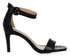 Czarne sandały na obcasie w motyw zwierzęcy firmy Bellucci (kolory)