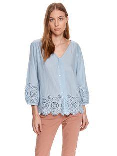 Luźna koszula damska z ażurowym wykończeniem