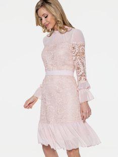 Pudrowa koronkowa sukienka z falbanką L`AF LIV