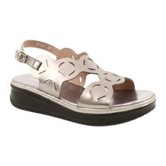 Sandały damskie srebrne Sergio Leone SK041 srebrny