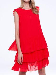 Czerwona plisowana sukienka midi z falbanami L`AF SUSAN