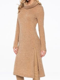 Swetrowa tunika z dodatkiem moheru Potis & Verso CAMEL