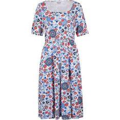 Sukienka Bonprix wielokolorowa z krótkim rękawem w kwiaty
