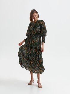 Sukienka maxi z gumkami w rękawach
