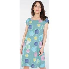 Sukienka Unisono niebieska prosta z krótkim rękawem