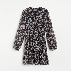Reserved - Sukienka mini w kwiaty - Czarny