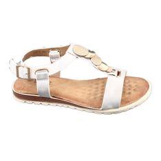 Srebne sandały damskie Evento 20SD14 2067 białe szare