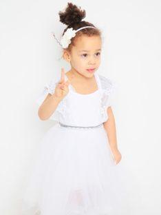 Biała sukienka dziecięca z tiulowym dołem Anima by Justyna Steczkowska
