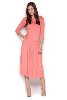 Różowy Dzianinowy Komplet Bluzka + Midi Spódnica