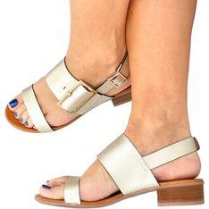Sandały damskie Hispanitas z klamrą skórzane eleganckie płaskie