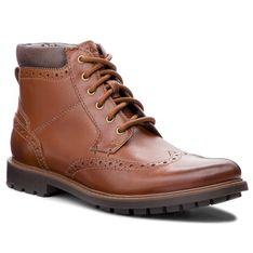 Kozaki CLARKS - Curington Rise 261368547  Tan Leather