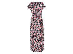 ESMARA® Sukienka damska maxi z wiskozą, 1 sztuka (XS (32/34), Z nadrukiem na całej powierzchni/morski/biały/czerwony )