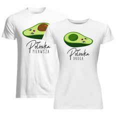 Komplet dla pary - Pierwsza połówka (męska) Druga połówka (damska) wersja 2 - koszulki z nadrukiem