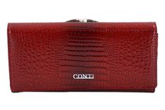Duży portfel skórzany lakierowany - Czerwony